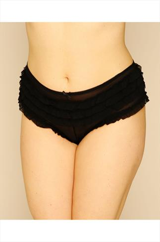 Briefs Knickers Black Frilly Mesh Brief 014220