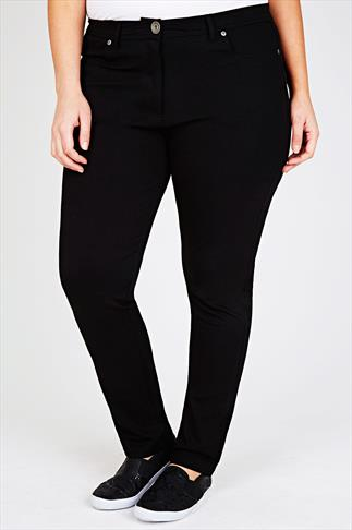 Black Ponte Stretch Jersey Trousers