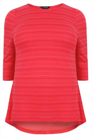 Bright Coral Burnout Stripe Top With Wrap Dipped Back