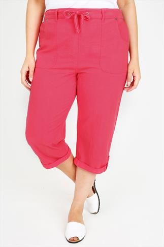 Watermelon Cool Cotton Roll-Up Crop Trousers With Stud Detail