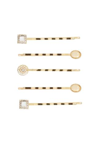 5 PACK Gold & Pastel Stone Hair Slides