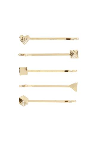 5 PACK Gold Simple Shapes Hair Slides