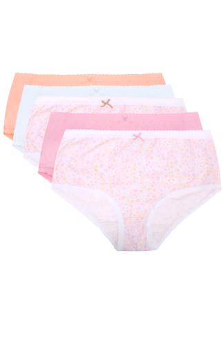 Briefs Knickers 5 PACK Pastel Ditsy Floral Full Briefs 146052