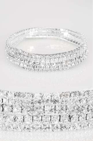 5 PACK Silver Diamante Stretch Bracelet