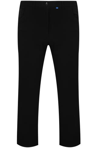 Black Smart Straight Leg Stretch Trousers With 5 Pockets