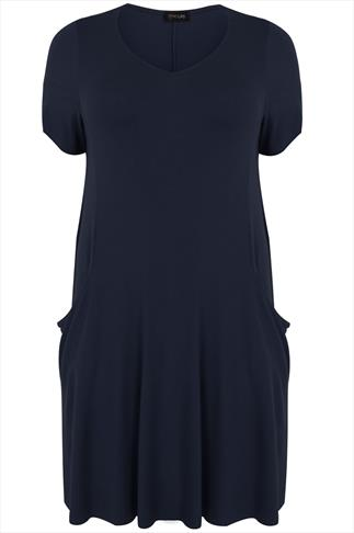 Navy Jersey Dress With Drop Pockets