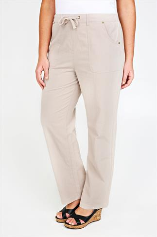 Cool Cotton Trousers Stone Full Length Cool Cotton Trousers 051049