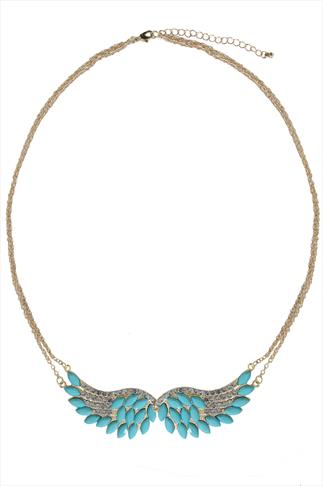 Gold & Turquoise Stone Wings Necklace