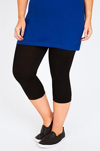 Black Viscose Elastane Cropped Legging