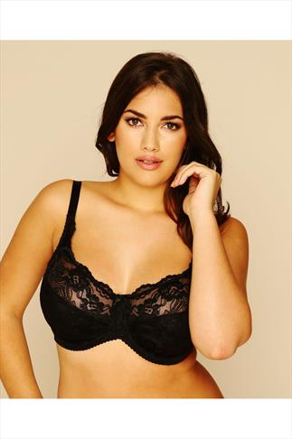 Black Stretch Lace Non-Padded Underwired Bra 019944