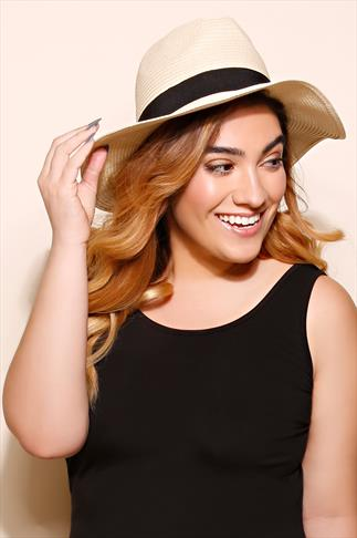 Natural Paper Straw Trilby Hat With Black Band Detail