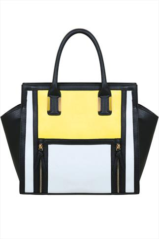 Black, White & Yellow Colour Block Tote Handbag