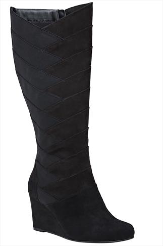 Black Knee High Suedette Wedge Boots With Cross Hatch Detail in EEE Fit