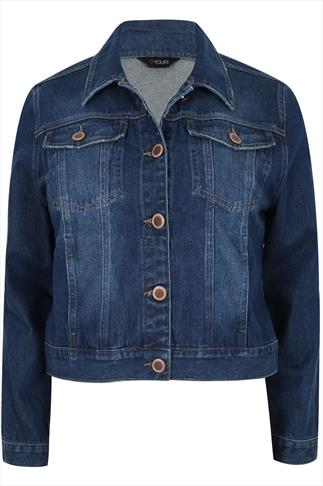 Indigo Denim Western Jacket With Long Sleeves