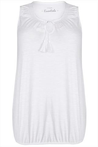 White Sleeveless Vest Top With Tassel Tie Front