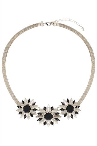 Gold & Black Statment Flower Necklace