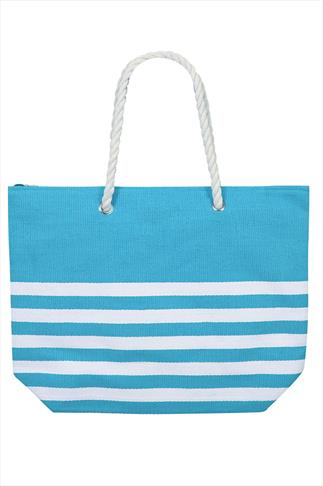 Blue And White Stripe Beach Bag