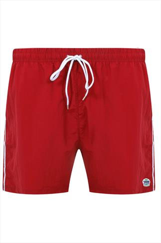 D555 Red Full Length Swim Short