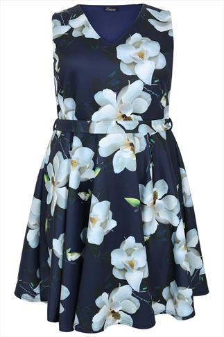Navy & White Lily Print Belted Skater Dress