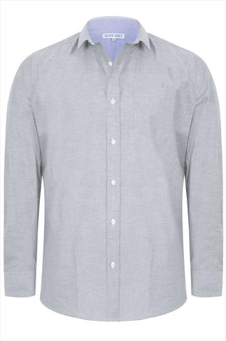 Slate Grey Light Grey Long Sleeved Oxford Shirt