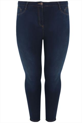 Indigo Blue Super Stretch Skinny Jeans With Brown Stitch Detail