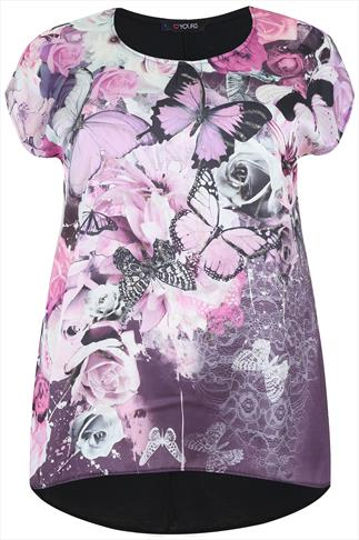 Black & Pink Woven Front Top With Butterfly & Floral Print