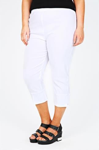 Cropped Trousers White Pull On Stretch Cropped Trousers 049501