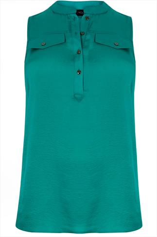 Jade Green Silky Sleeveless Blouse With Pocket Details