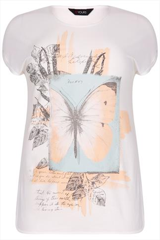 White, Turquoise & Peach Butterfly Print Top With Turn Back Sleeves