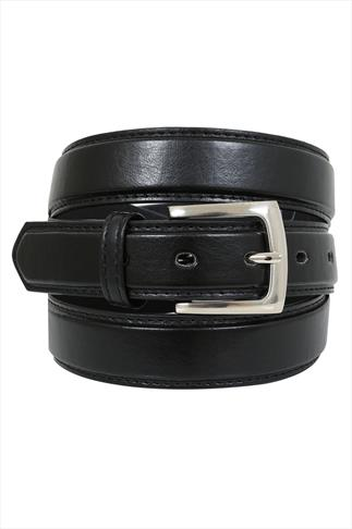 D555 Black Plain Square Buckle Belt