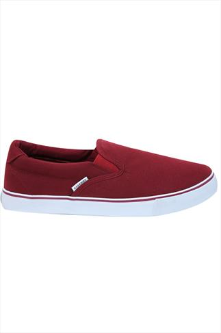 Burgundy Canvas Slip On Plimsolls
