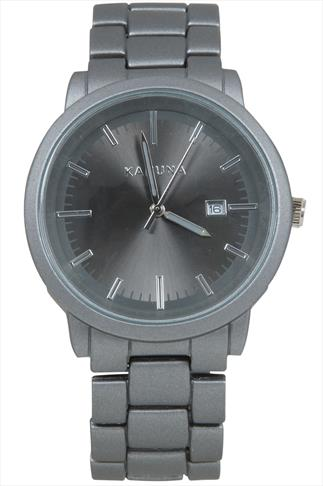 Grey Metal Watch With Chunky Link Strap
