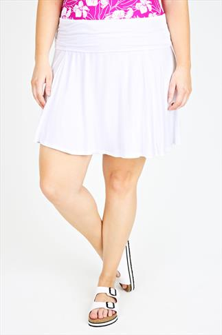 White Turn Down Waist Short Jersey Skirt