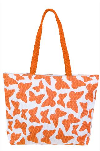 Orange And White Butterfly Print Shopper Beach Bag