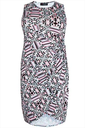 White, Pink & Green Geo Print Jersey Dress With Twist Detail