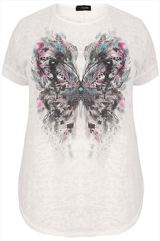White Butterfly Foil Print Burn Out Detail T-Shirt