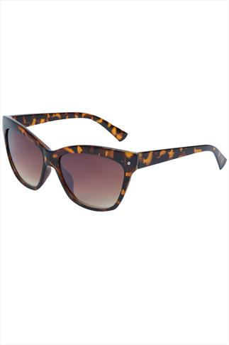 Brown Tortoise Frame Sunglasses With Tortoise Arms