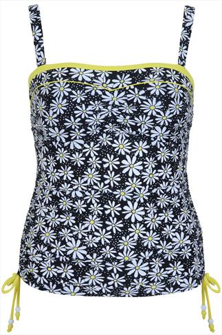 Black & Yellow Daisy Ruched Tankini Top With Detachable Straps