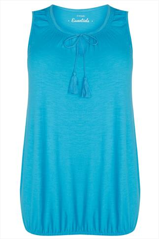 Turquoise Sleeveless Vest Top With Tassel Tie Front
