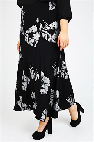 Silver & Black Floral Print Jersey Maxi Skirt With Panel Detail