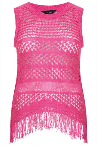 Pink Knitted Crochet Top With Fringed Hem
