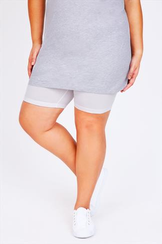 White Cotton Elastane Legging Shorts 057191