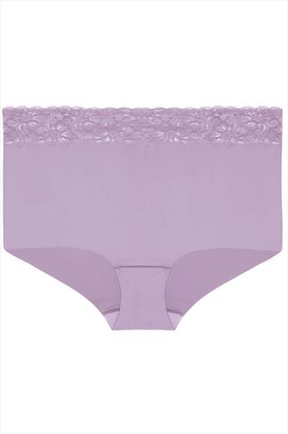 Lilac High Waisted No VPL Full Brief With Lace Detail