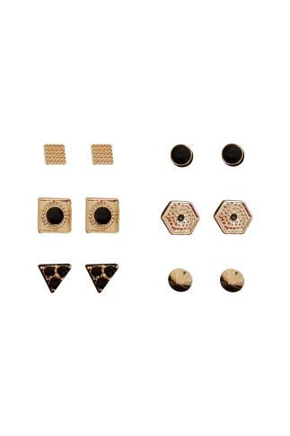 6 PACK Gold & Black Assorted Stud Earrings