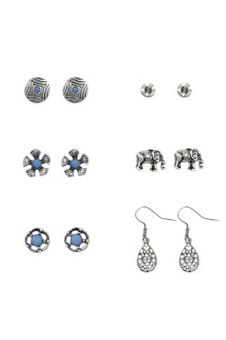 Earrings 6 PACK Silver Earrings With Blue Stones 152175