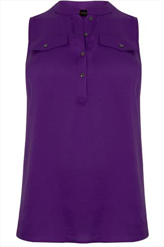 Purple Silky Sleeveless Blouse With Pocket Details