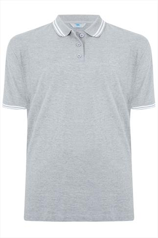 BadRhino Light Grey Marl Polo Shirt With White Stripe Detail
