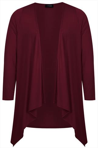 Wine Edge To Edge Waterfall Jersey Cardigan