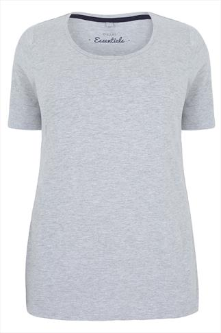 Grey Marl Scoop Neck Cotton T-Shirt