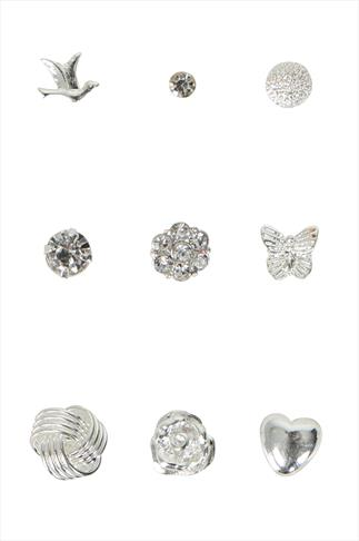 Silver Assorted Stud Earrings - 9 Pack
